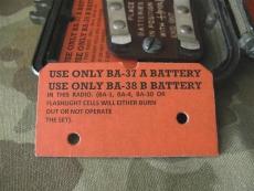 Battery Warning Tag für BC-611 Radio, Funkgerät US USMC WK2 WWII