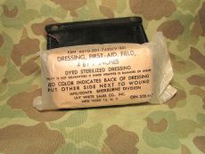 MP Leather First Aid Pouch + First Aid Dressing - 1961 - US Army USMC Military Police