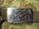 Trouser Belt - Engraved Buckel GUAM - CBI US AAF WWII WK2