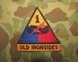 1st Armored Division Patch - OLD IRONSIDES - Cut Edge - US Army Vietnam - Occupation